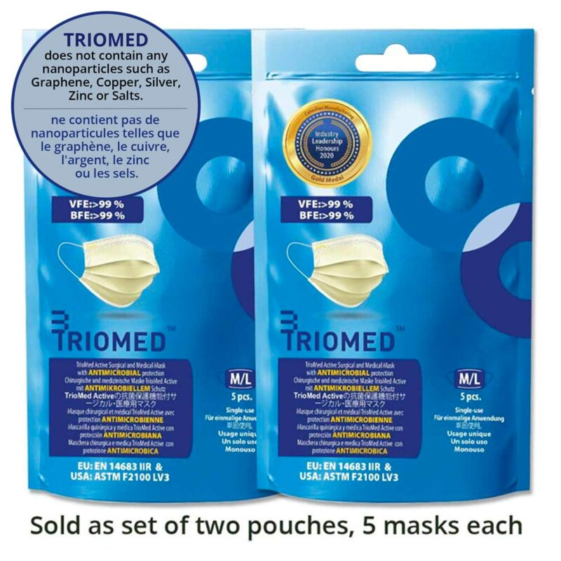 Active Surgical and Medical Mask<br>Masque chirurgical et médical actif<br>Set of 2 pouches/Lot de 2 pochettes<br>Free Shipping